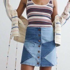Madewell Pieced Denim Skirt - 23